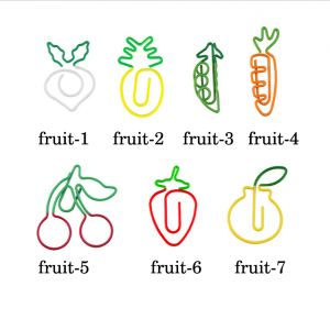 fruit shaped paper clips in 2-color strawberry outline
