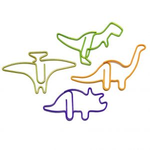 animal shaped paper clips in different dinosaur outlines