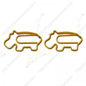 yellow hippo paper clips, animal shaped paper clips,