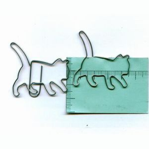 animal shaped paper clips in cat outline