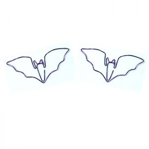 wire shaped paper clips in bat outline, animal shaped paper clips