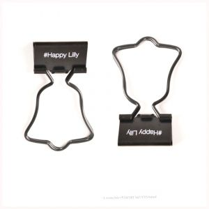 black binder clips with the handle in bell shape, office binder clips