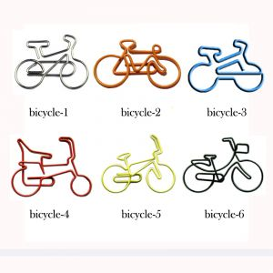 shaped paper clips in different bicycle outlines