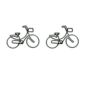 vehicle shaped paper clips in bicycle outline, bike paper clips