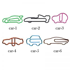 car shaped paper clips in different outlines, vehicle paper clips
