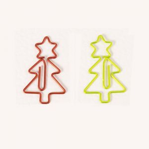 Christmas tree shaped paper clips in various colors