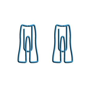 clothes shaped paper clips in the outline of women's jean