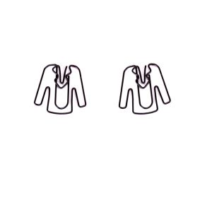 shaped paper clips in coat outline, clothes paper clips
