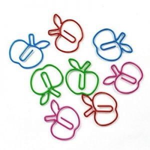 apple shaped paper clips in multiple colors