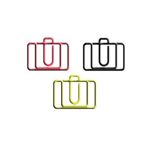suitcase shaped paper clips in multiple colors