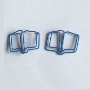 book shaped paper clips made of blue wire