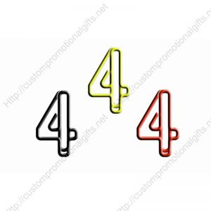 shaped paper clips in number 4 outline