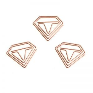 diamond gem shaped paper clips in electroplated rose gold