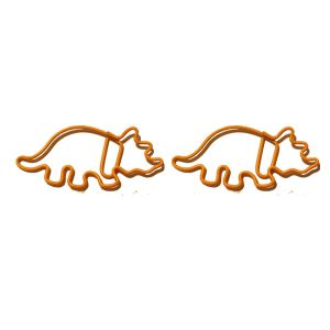animal shaped paper clips in triceratops outline, dinosaur paper clips