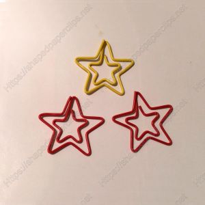 double-star shaped paper clips in multiple colors
