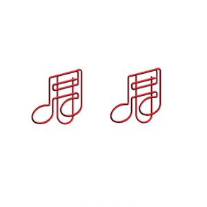 music shaped paper clips in double note outline