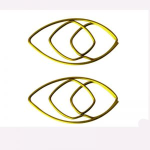wire shaped paper clips in gold eye outline