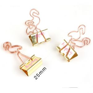 flamingo metal binder clips, bird office binder clips