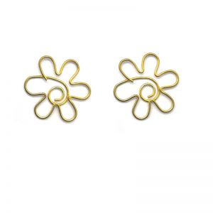 blossom shaped paper clips, gold paper clips in flower outline