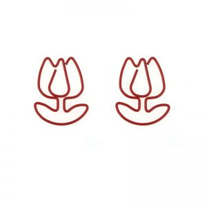 red flower shaped paper clips