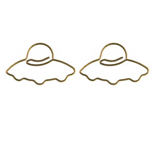 shaped paper clips in flying saucer outline