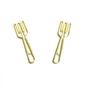gold paper clips, fork shaped paper clips