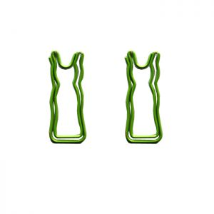 shaped paper clips in the outline of a frock or skirt, dress paper clips