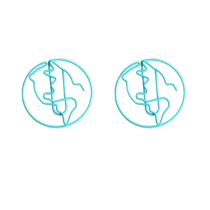 wire shaped paper clips in globe outline