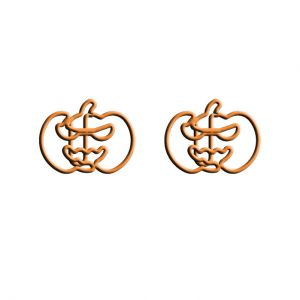 wire shaped paper clips in halloween pumpkin outline, holiday ornaments