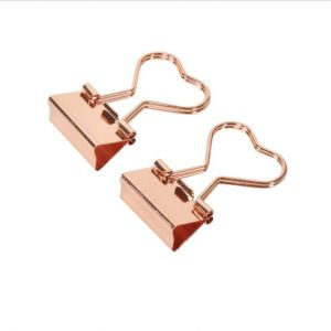 gold binder clips with a handle in heart shape, office binder clips