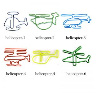shaped paper clips in different helicopter outlines, aircraft paper clips