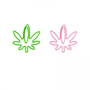shaped paper clips in hemp leaf outline, promotional paper clips