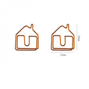 shaped paper clips in house outline