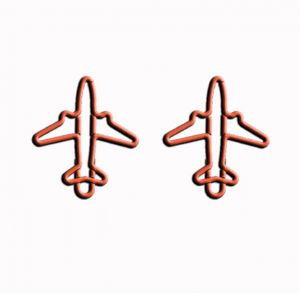 shaped paper clips in battleplane outline, jet shaped paper clips