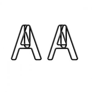 alphabet shaped paper clips in letter A outline, letter paper clips