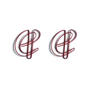 letter shaped paper clips in the outline of a cursive e