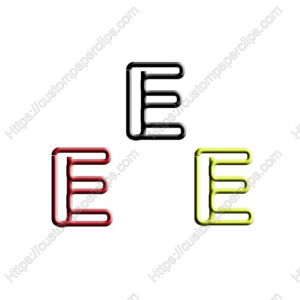shaped paper clips in the outline of letter E