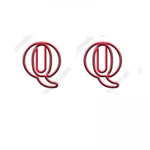 shaped paper clips in the outline of letter Q, letter Q shaped paper clips