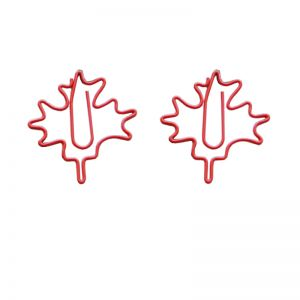wire shaped paper clips in maple leaf outline