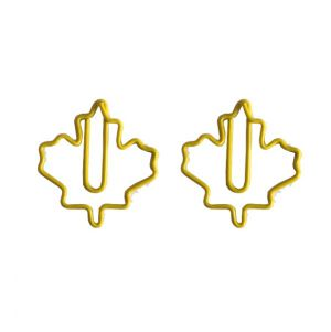 shaped paper clips in maple leaf outline, logo paper clips