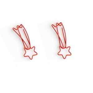 wire shaped paper clips in meteor outline, decorative paper clips