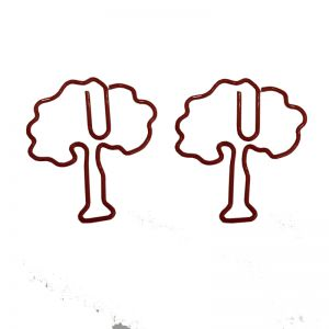 plant shaped paper clips in oak tree outline