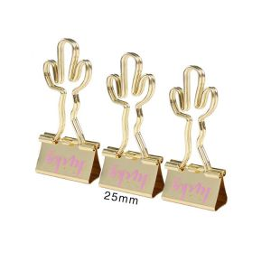 office binder clips with cactus hands, cactus metal binder clips
