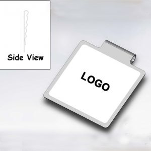 square printed paper clips in stainless steel metal