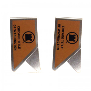 stainless steel paper clips with imprinted logo, promotional paper clips