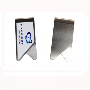 stainless steel paper clips with printed logo, promotional paper clips