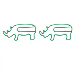 animal shaped paper clips in rhino outline