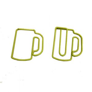 shaped paper clips in beer mug outline, beer cup paper clips