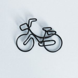 bicycle bike shaped paper clips in black wire