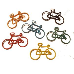 bicycle shaped paper clips, bike paper clips in multiple colors